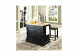 "Butcher Block Top Kitchen Island in Black with 24"" Saddle Stools - CROSLEY-KF300064BK"