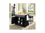 "Butcher Block Top Kitchen Island in Black with 24"" Square Seat Stools - CROSLEY-KF300065BK"