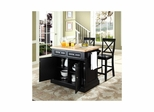 "Butcher Block Top Kitchen Island in Black with 24"" X-Back Stools - CROSLEY-KF300063BK"