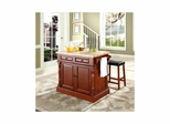 "Butcher Block Top Kitchen Island in Cherry with 24"" Saddle Stools - CROSLEY-KF300064CH"