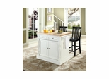 "Butcher Block Top Kitchen Island in White with 24"" Black School House Stools - CROSLEY-KF300062WH"