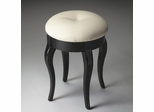 Butler Black Licorice Round Single Button Fabric Tufted Vanity Stool