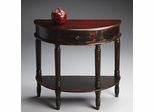 Butler Burnt Eggplant Demilune Console Table with Fluted Carved Legs