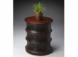 Butler Burnt Eggplant Triple-tiered Oval Drum Table