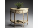 Butler Chateau Gray Demilune Console Table with Fluted Carved Legs