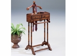 Butler Cherry Men's Clothes Valet Furniture Stand with Storage