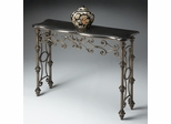 Butler Console Table with Black Fossil Stone Veneer Top