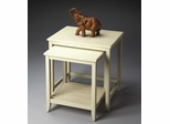 Butler Cottage White Nesting Tables with Slatted Lower Shelf