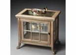 Butler Driftwood Side Chair Curio with a Beveled Glass Top