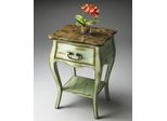 Butler Heritage Distressed Green and Snakeskin Top Console Table