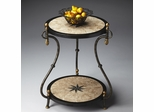 Butler Metalworks Black and Pastor Fossil Stone Veneer Accent Table