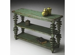 Butler Mountain Lodge Old World Rustic Moss Green Console Table