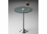 Butler Nickel Base Thick Glass Top Pedestal Table