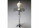 Butler Nickel Polished Black Mirror glass Top Pedestal Table