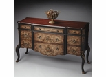 Butler Old World Floral Stately Console Chest