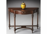 Butler Plantation Cherry Modified Demilune Single Drawer Console Table