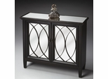 Butler Plum Black Mirror Console Cabinet with Decorative Wood Grillwork
