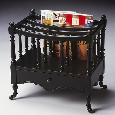 Butler Specialty Canterbury Magazine Rack Black Licorice Finish Accent Tables