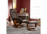 Cafe Brown Leather Recliner and Ottoman - Holly and Martin
