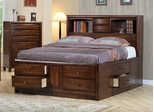 California King Size Bed - Hillary California King Size Storage Bed in Warm Brown - Coaster - 200609KW