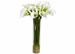 Calla Lilly with Cylinder Silk Flower Arrangement - Nearly Natural - 1251-CR