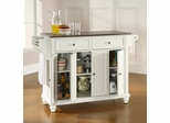 Cambridge Stainless Steel Top Kitchen Island in White Finish - Crosley Furniture - KF30002DWH