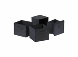 Capri Set of 4 Foldable Black Fabric Baskets - Winsome Trading - 22411