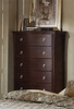 Chest - 5-Drawer Chest in Mocha Finish with Solid Wood and Wood Veneers