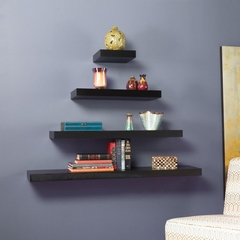 "SEI Chicago Floating Shelf 48"" Black"