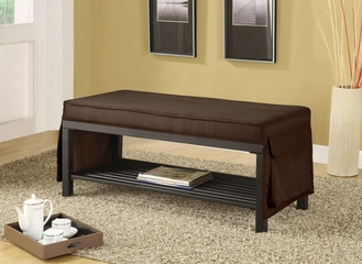 Chocolate Fabric Bench - Mazel - 10075