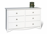 Condo/Youth Size 6 Drawer Dresser in White - Monterey Collection - Prepac Furniture - WDC-4829