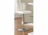Contemporary Adjustable White Barstool - Set of 2 - 120356