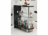 Contemporary Black Bar Table with Glass Shelf - 101063