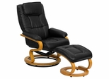 Contemporary Black Leather Recliner and Ottoman with Swiveling Maple Wood Base - BT-7615-BK-CURV-GG
