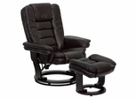Contemporary Brown Leather Recliner and Ottoman with Swiveling Mahogany Wood Base - BT-7818-BN-GG