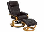 Contemporary Brown Leather Recliner and Ottoman with Swiveling Maple Wood Base - BT-7615-BN-CURV-GG