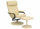 Contemporary Cream Leather Recliner and Ottoman with Leather Wrapped Base - BT-7863-CREAM-GG