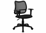 Contemporary Mesh Task Chair - Black Fabric Seat, Arms - WL-A277-BK-A-GG
