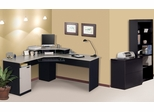 Corner Work Station, Lateral File and Bookcase Set in Sand Granite and Charcoal - Hampton - Bestar Office Furniture - HAMP-SET-2