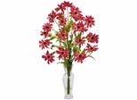 Cosmos with Vase Silk Flower Arrangement - Nearly Natural - 1172-RD