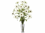 Cosmos with Vase Silk Flower Arrangement - Nearly Natural - 1172-WH