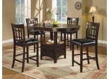 Counter Height Table and Bar Stool Set in Dark Cappuccino - Coaster - 102888-9-DSET