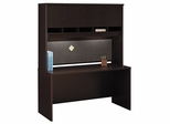"""Credenza 60"""" and Hutch Set - Series C Mocha Cherry Collection - Bush Office Furniture - WC12961-62"""
