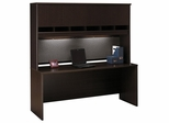"""Credenza 72"""" and Hutch Set - Series C Mocha Cherry Collection - Bush Office Furniture - WC12926-77"""