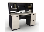 Credenza and Hutch in Sand Granite and Charcoal - Hampton - Bestar Office Furniture - 69450-86