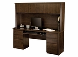 Credenza and Hutch with Keyboard and 2 Ped in Chocolate - Prestige Plus - Bestar Office Furniture - 99851-69