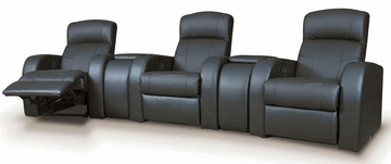 Cyrus Contemporary Leather Theater Seating with Wedge Consoles - 600001