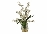 Dancing Lady Orchid Liquid Illusion Silk Flower Arrangement in White - Nearly Natural - 1119-WH