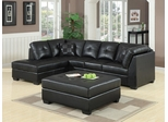 Darie Leather Sectional Sofa and Ottoman with Left-Side Chaise - 500606