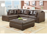 Darie Leather Sectional Sofa and Ottoman with Left-Side Chaise - 500686